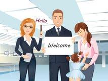 Ett grupp människormöte någon i flygplatskorridoren, välkomnande, hälsning vektor illustrationer