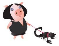 Ett gulligt piggy leder en skorpion på en koppel vektor illustrationer