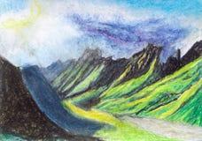 Ett härligt berglandskap med en molnig kant och en flod V stock illustrationer