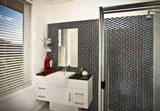 Ett härligt modernt stilfullt badrum royaltyfria foton