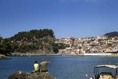 Ett härligt paradis i Grekland Parga fiske royaltyfri fotografi