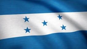 Ett härligt satängfullföljande som kretsar flaggaanimering av Honduras Honduras flagga som vinkar i vinden Bakgrund med buse Royaltyfri Foto
