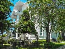 Ett härligt tre-berättelse hus med palmträd royaltyfri fotografi