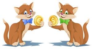 Ett hållande dollarsymbol för katt och en annan hållande eurosym för örn Royaltyfri Foto