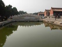 Ett h?rn av de ?stliga gravvalven av den Qing dynastin fotografering för bildbyråer