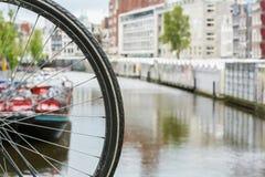 Ett hjul för cykel` s nära blommamarknaden och några historiska byggnader Royaltyfri Foto