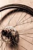 Ett hjul på den gråa väggbakgrunden royaltyfria foton