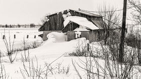 Ett hus efter häftig snöstorm Arkivbild
