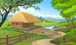 Ett hus i en by med taket som göras av sugrör och väggar som göras av lera stock illustrationer