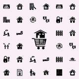 ett hus i en vagn från lagersymbolen Universell uppsättning för fastighetsymboler för rengöringsduk och mobil stock illustrationer
