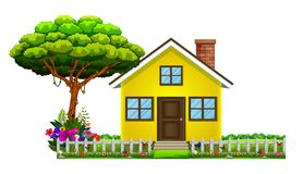 Ett hus i härlig natur stock illustrationer