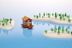 Ett hus i mitten av för sjö det poly landskapet lågt illustra 3D Royaltyfri Illustrationer
