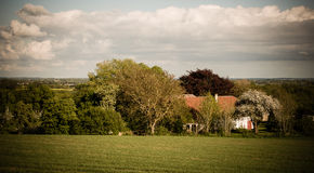 Ett hus mellan träd Royaltyfri Bild