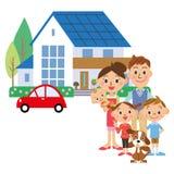 Ett hus och en familj Arkivfoto