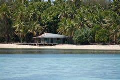 Ett hus på stranden på en av de tropiska öarna i Tonga royaltyfri foto
