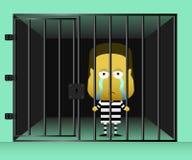 Ett intagen stod ledset och blicken ut ur fängelse Arkivbilder