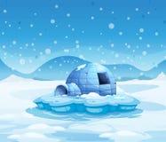 Ett isberg med en igloo stock illustrationer