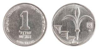 Ett israeliskt nytt Sheqel mynt Arkivfoto