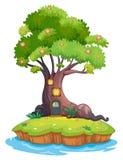 Ett jätte- träd i en ö Arkivfoton