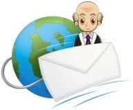 Ett jordklot med en skallig gamal man och ett kuvert Royaltyfri Foto
