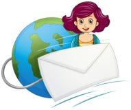 Ett jordklot med ett bundit kuvert och en kvinna stock illustrationer