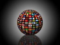 Ett jordklot som 3D komponeras av flaggorna arkivbild