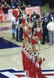 Ett jubel vid universitetet av Arizona den Cheerleading truppen Arkivbild