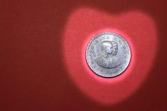 Ett jubileums- mynt för baht det sjätte asiatiska spelen BANGKOK, 1970 Fotografering för Bildbyråer