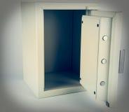 Ett kassaskåp med den öppna dörren Arkivbild