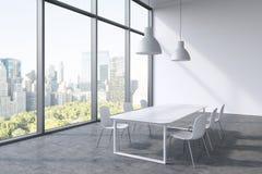 Ett konferensrum i ett modernt panorama- kontor med den New York City sikten Vit tabell, vitstolar och två vita takljus 3d Stock Illustrationer