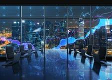 Ett konferensrum som utrustas av moderna bärbara datorer i ett modernt panorama- kontor, aftonNew York City sikt Finansiella diag Arkivfoto