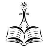 Ett kors med en glänsande sol, en öppen bibel och droppar vektor illustrationer