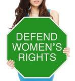 Försvara kvinna rätter royaltyfri foto