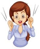 Ett kvinnligt affärssymbolssamtal Arkivfoton