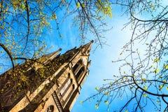 Ett kyrkligt torn som omges av trädfilialer, är uppsättningen mot en blå himmel med moln Arkivbild