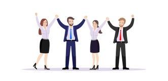 Ett lag av anställdhållhänder som jublar framgång stock illustrationer