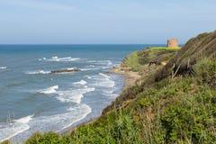 Ett litet fort på kusten i Italien Arkivfoto