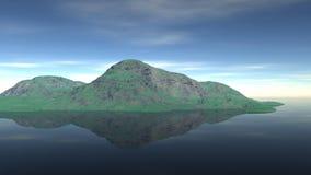 Ett litet grönt löst en ö i sjön Arkivbild