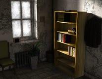 Ett litet rum i fattigt villkor med något möblemang Arkivfoton