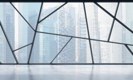Ett ljust modernt panorama- tomt kontorsutrymme med den Singapore sikten Begreppet av högt yrkesmässig finansiell eller laglig se stock illustrationer