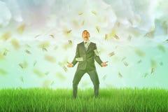 Ett lyckligt affärsmananseende på en grön gräsmatta med ett regn av dollarräkningar som faller på honom från den molniga himlen royaltyfri fotografi