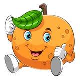 Ett lyckligt orange tecken för tecknad film stock illustrationer
