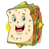 Ett lyckligt smörgåstecken för tecknad film stock illustrationer