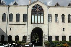 Ett mäktigt hotell i Gaziantep, var många av de gamla murverkbyggnaderna, en historisk byggnad Arkivbild