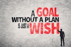 Ett mål utan ett plan är precis en önska Royaltyfri Fotografi