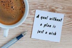 Ett mål utan ett plan är precis en önska - motivational handskrift på en servett med en kopp av morgonkaffe royaltyfria foton