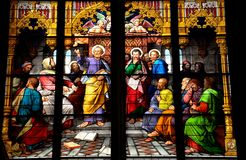 St Peter målat glasskonstverk Arkivfoto