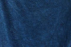 Ett mörker - blå handduktextur Royaltyfria Bilder
