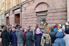 Ett möte av medborgare i minnet av offren av terroristen Arkivbilder