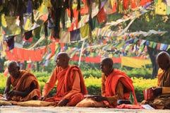Ett möte av munkar på det heliga trädet i Lumbini - födelseorten av Lord Buddha arkivbild